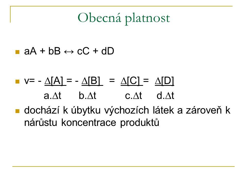 Obecná platnost aA + bB ↔ cC + dD v= - ∆[A] = - ∆[B] = ∆[C] = ∆[D] a.∆t b.∆t c.∆t d.∆t dochází k úbytku výchozích látek a zároveň k nárůstu koncentrace produktů
