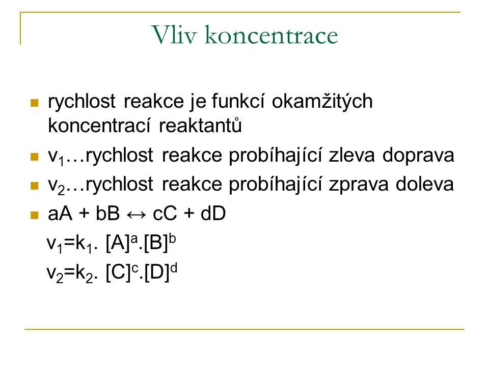 Vliv koncentrace rychlost reakce je funkcí okamžitých koncentrací reaktantů v 1 …rychlost reakce probíhající zleva doprava v 2 …rychlost reakce probíh