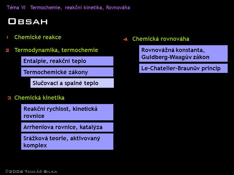 Téma VITermochemie, reakční kinetika, Rovnováha Obsah Chemické reakce Termodynamika, termochemie Entalpie, reakční teplo Termochemické zákony  2006 Tadeáš Bilka Slučovací a spalné teplo Chemická kinetika Reakční rychlost, kinetická rovnice Srážková teorie, aktivovaný komplex Chemická rovnováha Rovnovážná konstanta, Guldberg-Waagův zákon Le-Chatelier-Braunův princip 1 2 3 4 Arrheniova rovnice, katalýza