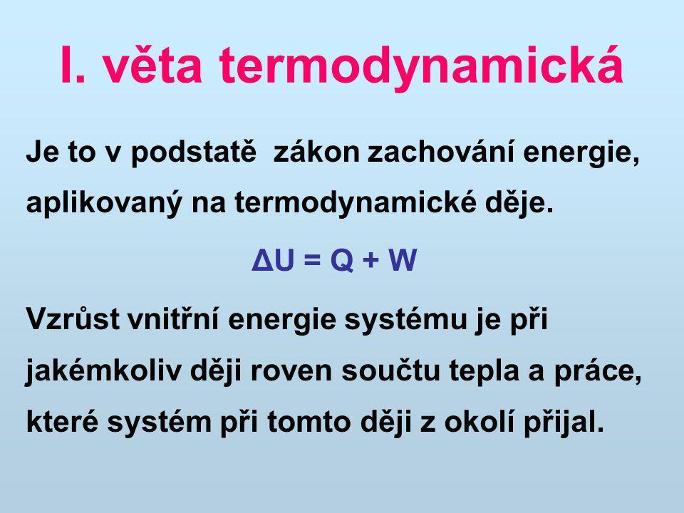 I. věta termodynamická Je to v podstatě zákon zachování energie, aplikovaný na termodynamické děje. ΔU = Q + W Vzrůst vnitřní energie systému je při j