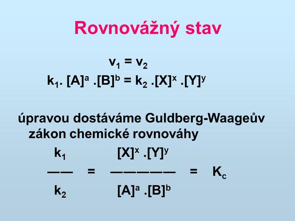 Rovnovážný stav v 1 = v 2 k 1. [A] a.[B] b = k 2.[X] x.[Y] y úpravou dostáváme Guldberg-Waageův zákon chemické rovnováhy k 1 [X] x.[Y] y ―― = ――――― =