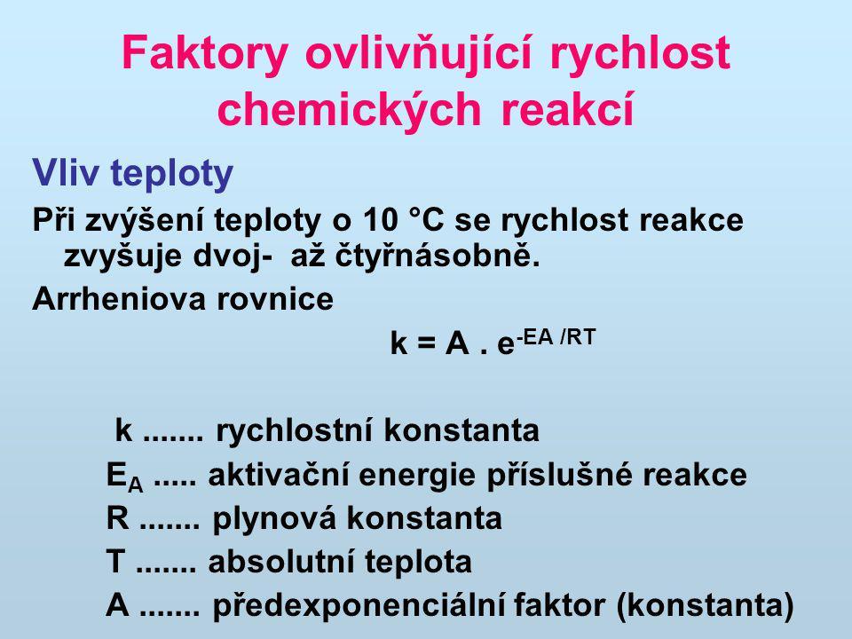 Faktory ovlivňující rychlost chemických reakcí Vliv teploty Při zvýšení teploty o 10 °C se rychlost reakce zvyšuje dvoj- až čtyřnásobně. Arrheniova ro