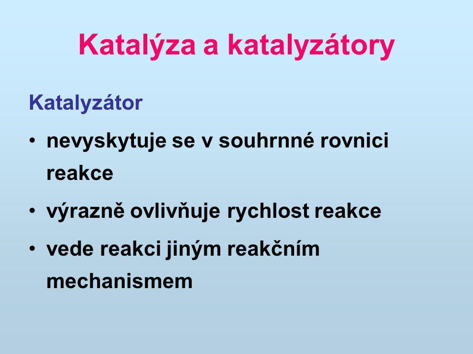 Katalýza a katalyzátory Katalyzátor nevyskytuje se v souhrnné rovnici reakce výrazně ovlivňuje rychlost reakce vede reakci jiným reakčním mechanismem