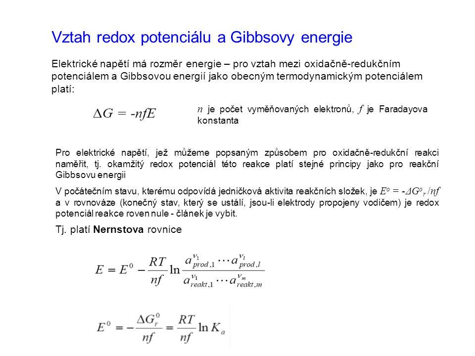 Vztah redox potenciálu a Gibbsovy energie Elektrické napětí má rozměr energie – pro vztah mezi oxidačně-redukčním potenciálem a Gibbsovou energií jako