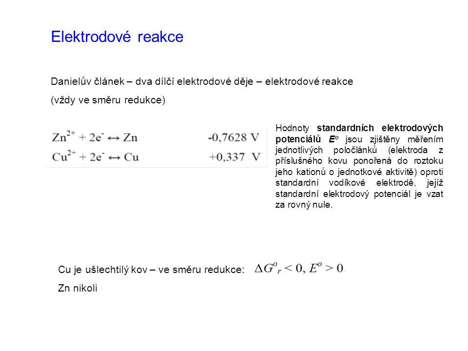 Elektrodové reakce Danielův článek – dva dílčí elektrodové děje – elektrodové reakce (vždy ve směru redukce) Hodnoty standardních elektrodových potenc