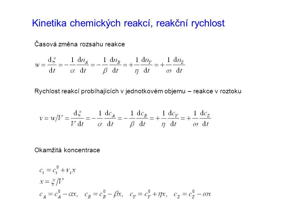 Kinetika chemických reakcí, reakční rychlost Časová změna rozsahu reakce Rychlost reakcí probíhajících v jednotkovém objemu – reakce v roztoku Okamžit