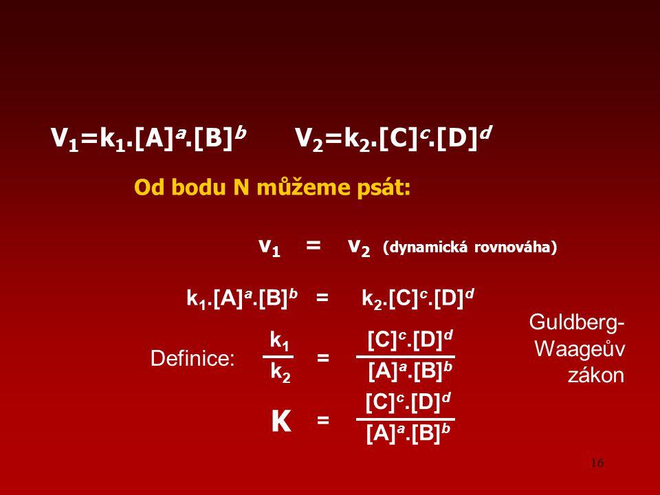 16 Od bodu N můžeme psát: v 1 = v 2 (dynamická rovnováha) V 1 =k 1.[A] a.[B] b V 2 =k 2.[C] c.[D] d k 1.[A] a.[B] b = k 2.[C] c.[D] d k 1 [C] c.[D] d k 2 [A] a.[B] b = [C] c.[D] d [A] a.[B] b = K Definice: Guldberg- Waageův zákon