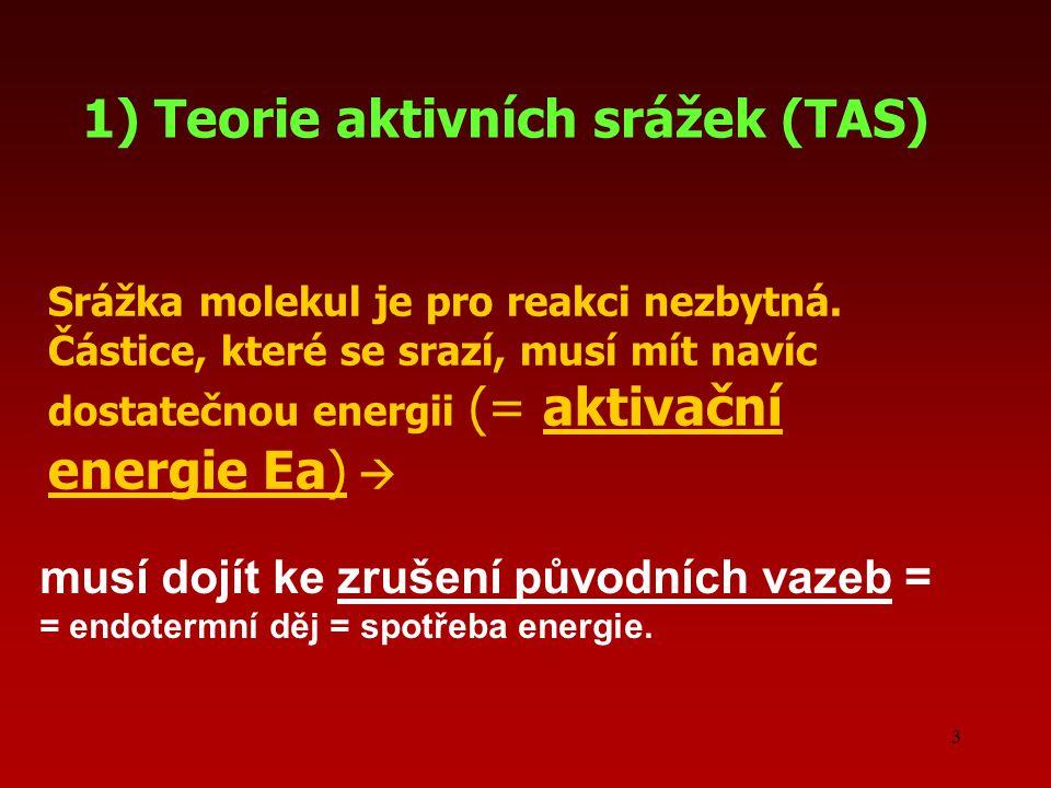 3 1) Teorie aktivních srážek (TAS) musí dojít ke zrušení původních vazeb = = endotermní děj = spotřeba energie. Srážka molekul je pro reakci nezbytná.
