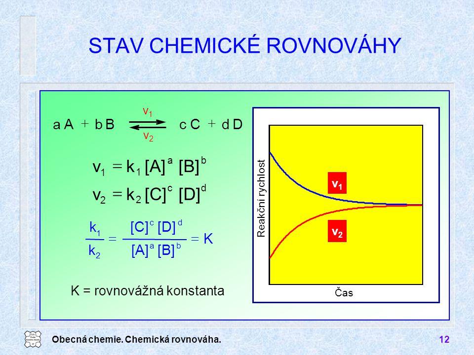 Obecná chemie. Chemická rovnováha.12 STAV CHEMICKÉ ROVNOVÁHY Čas Reakční rychlost v1v1 v2v2 K = rovnovážná konstanta v1v1 v2v2 DdCcBbAa  ba 1 1 [B][