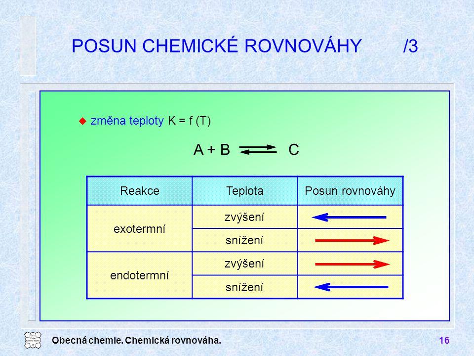Obecná chemie. Chemická rovnováha.16 ReakceTeplotaPosun rovnováhy exotermní zvýšení snížení endotermní zvýšení snížení POSUN CHEMICKÉ ROVNOVÁHY/3 A +