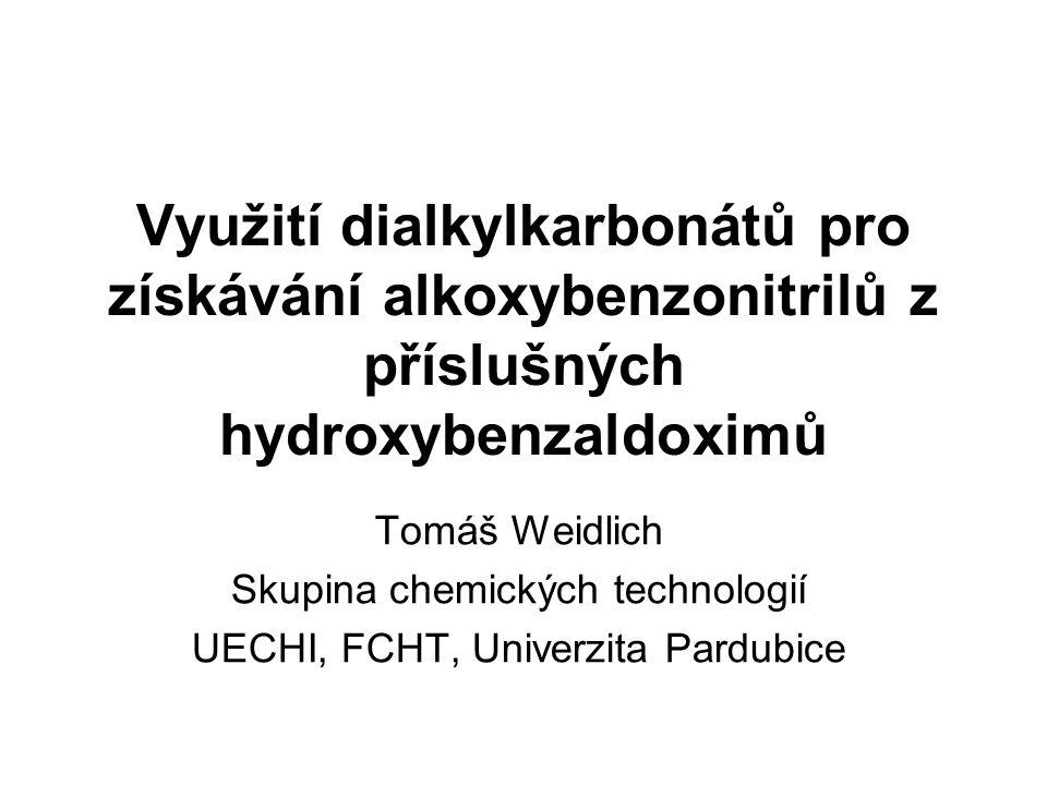 Vliv použitého dialkylkarbonátu na konverzi hydroxybenzaldoximu: Při použití 3 mol (RO) 2 CO a 2 mol K 2 CO 3 na 1 mol hydroxybenzaldoximu v 1 litru DMA: