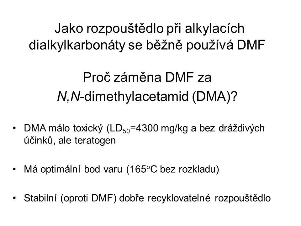 DMA málo toxický (LD 50 =4300 mg/kg a bez dráždivých účinků, ale teratogen Má optimální bod varu (165 o C bez rozkladu) Stabilní (oproti DMF) dobře recyklovatelné rozpouštědlo Jako rozpouštědlo při alkylacích dialkylkarbonáty se běžně používá DMF Proč záměna DMF za N,N-dimethylacetamid (DMA)?
