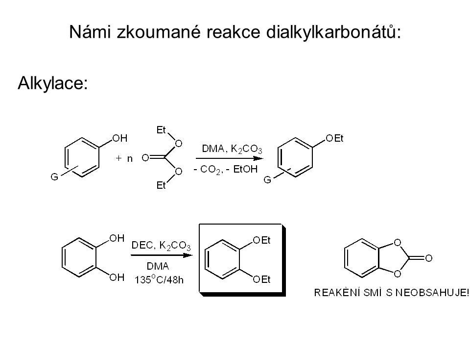 Námi zkoumané reakce dialkylkarbonátů: Alkylace: