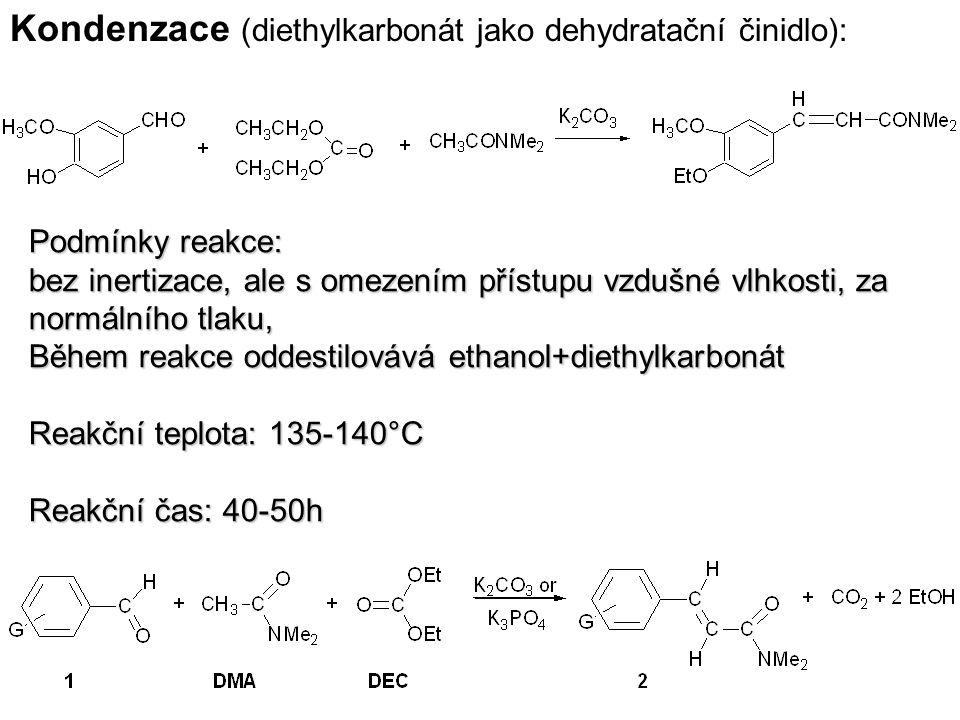 Kondenzace (diethylkarbonát jako dehydratační činidlo): Podmínky reakce: bez inertizace, ale s omezením přístupu vzdušné vlhkosti, za normálního tlaku, Během reakce oddestilovává ethanol+diethylkarbonát Reakční teplota: 135-140°C Reakční čas: 40-50h