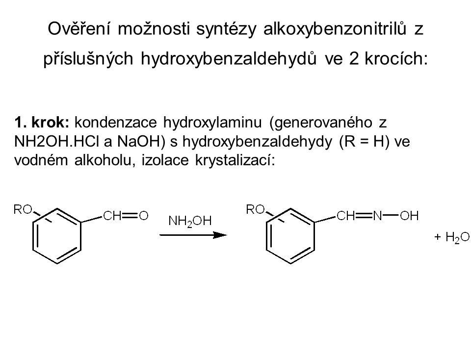 Ověření možnosti syntézy alkoxybenzonitrilů z příslušných hydroxybenzaldehydů ve 2 krocích: 1.