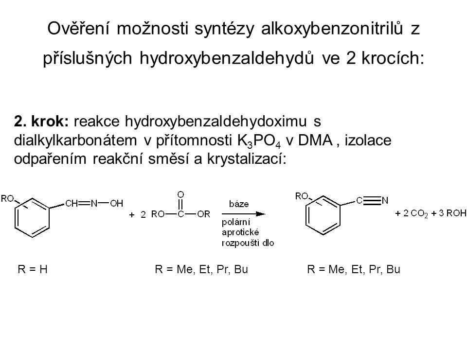 Ověření možnosti syntézy alkoxybenzonitrilů z příslušných hydroxybenzaldehydů ve 2 krocích: 2.