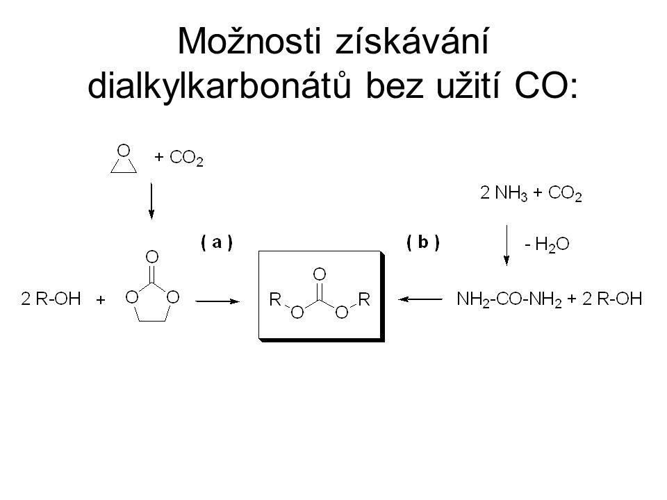 Možnosti získávání dialkylkarbonátů bez užití CO: