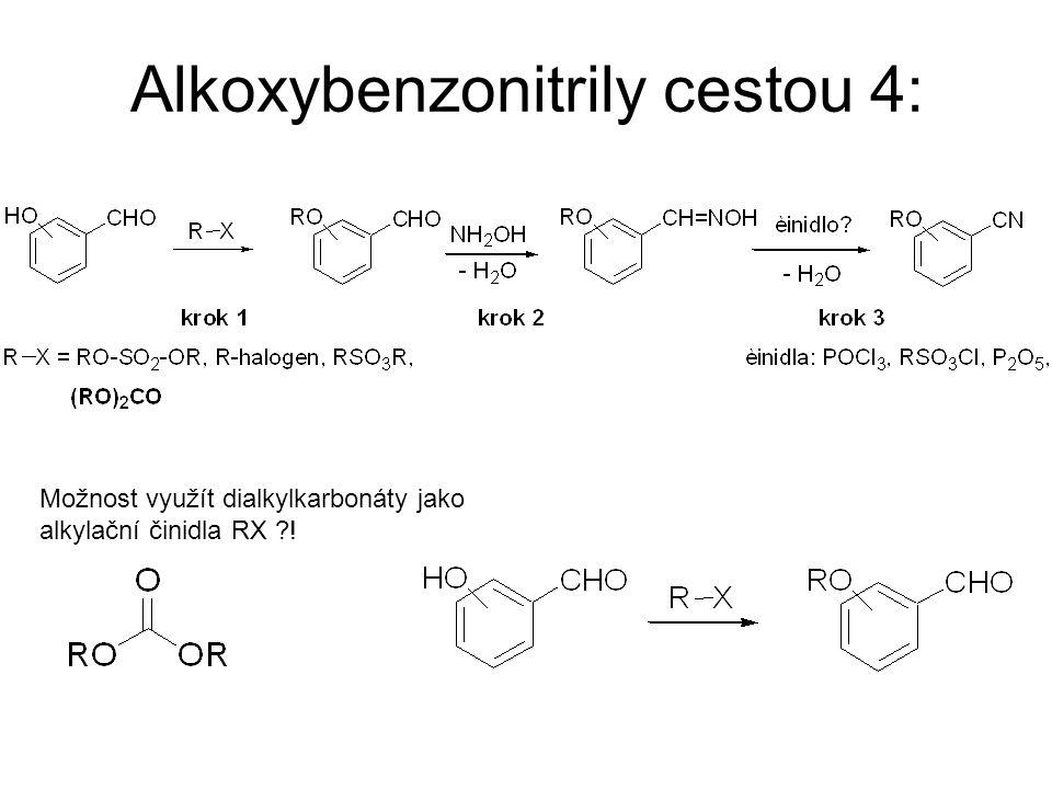 Alkoxybenzonitrily cestou 4: Možnost využít dialkylkarbonáty jako alkylační činidla RX ?!