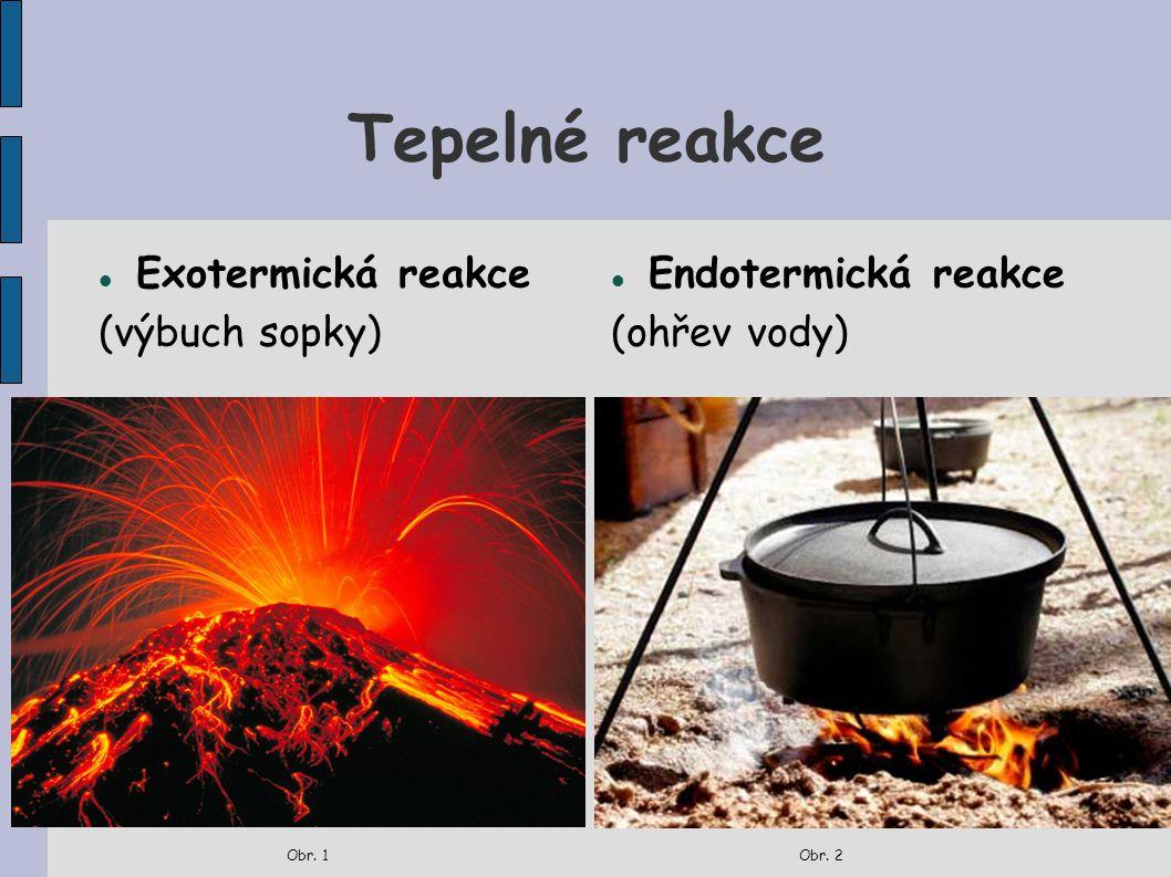Tepelné reakce Exotermická reakce (výbuch sopky) Obr. 1 Endotermická reakce (ohřev vody) Obr. 2