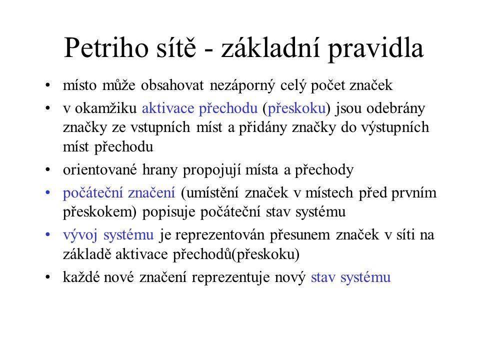 Petriho sítě - základní pravidla místo může obsahovat nezáporný celý počet značek v okamžiku aktivace přechodu (přeskoku) jsou odebrány značky ze vstu
