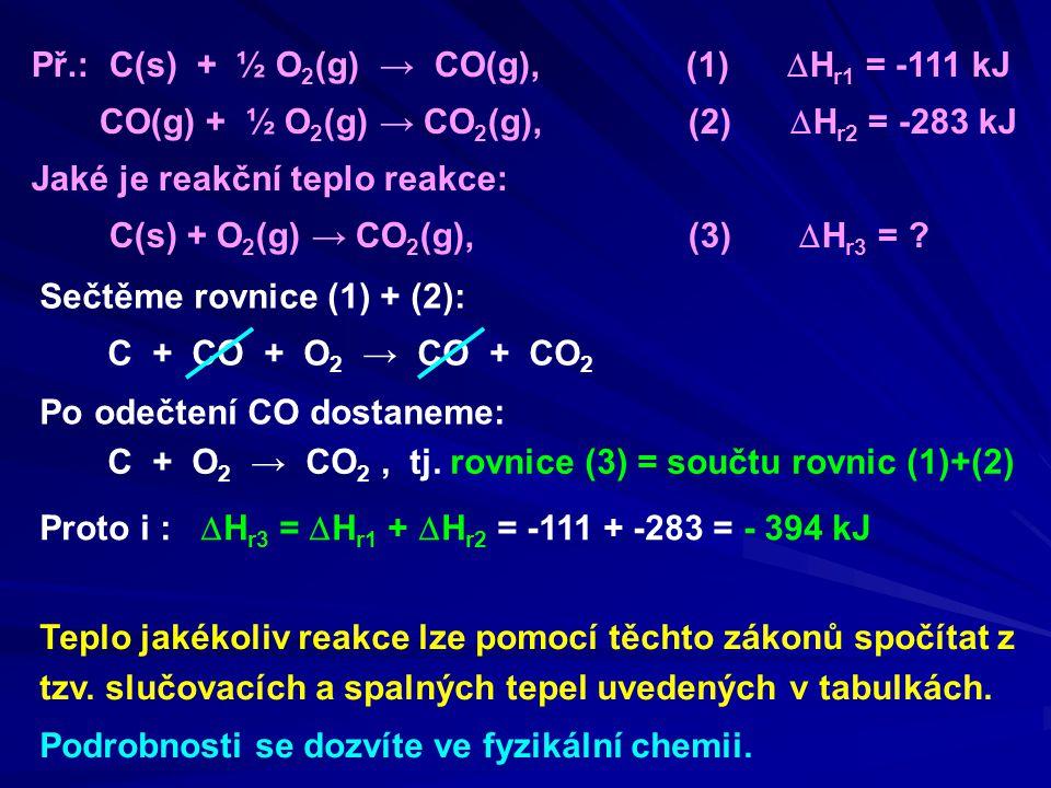 Př.: C(s) + ½ O 2 (g) → CO(g), (1)  H r1 = -111 kJ CO(g) + ½ O 2 (g) → CO 2 (g), (2)  H r2 = -283 kJ Jaké je reakční teplo reakce: C(s) + O 2 (g) → CO 2 (g), (3)  H r3 = .