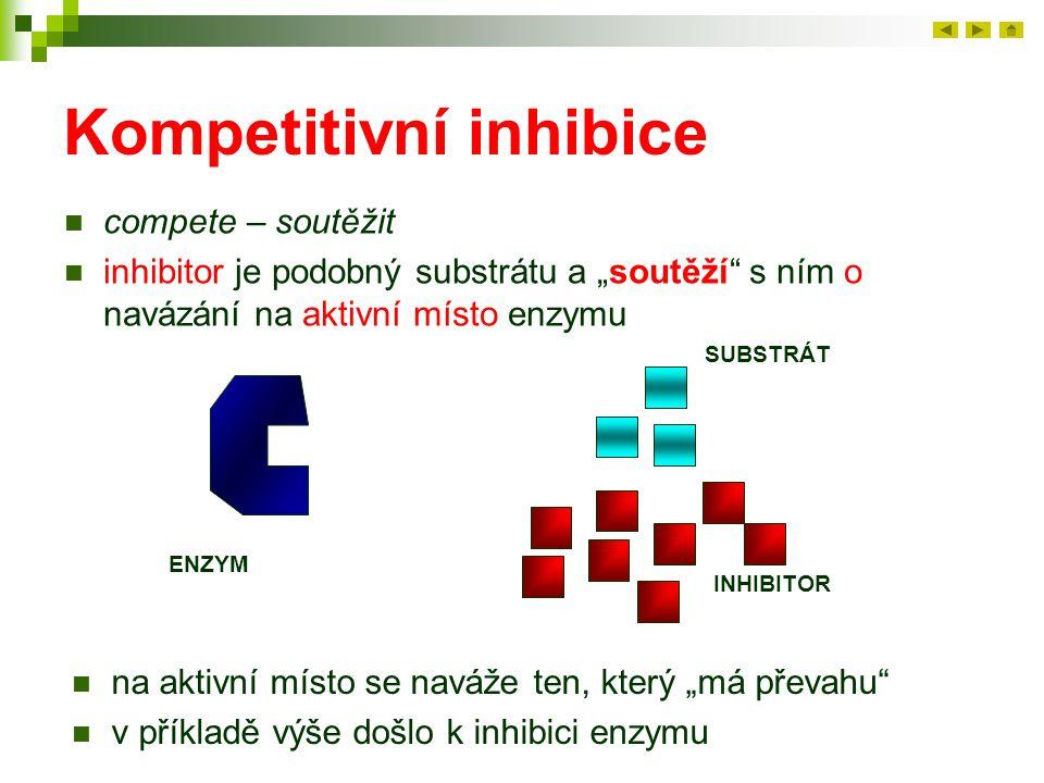 """Kompetitivní inhibice compete – soutěžit inhibitor je podobný substrátu a """"soutěží"""" s ním o navázání na aktivní místo enzymu ENZYM SUBSTRÁT INHIBITOR"""