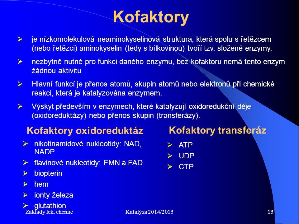 Základy lék. chemieKatalýza 2014/201515 Kofaktory  je nízkomolekulová neaminokyselinová struktura, která spolu s řetězcem (nebo řetězci) aminokyselin