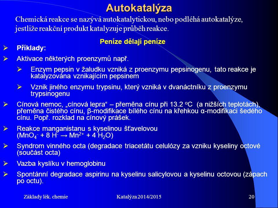 Základy lék. chemieKatalýza 2014/201520Autokatalýza Chemická reakce se nazývá autokatalytickou, nebo podléhá autokatalýze, jestliže reakční produkt ka