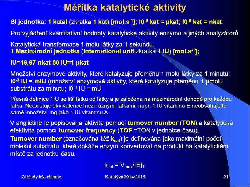 Základy lék. chemieKatalýza 2014/201521 Měřítka katalytické aktivity SI jednotka: 1 katal (zkratka 1 kat) [mol.s -1 ]; l0 -6 kat = µkat; l0 -9 kat = n