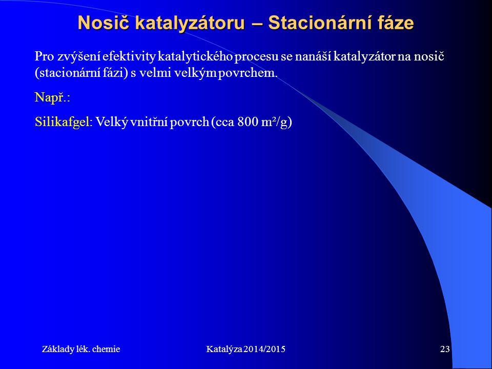Základy lék. chemieKatalýza 2014/201523 Nosič katalyzátoru – Stacionární fáze Pro zvýšení efektivity katalytického procesu se nanáší katalyzátor na no