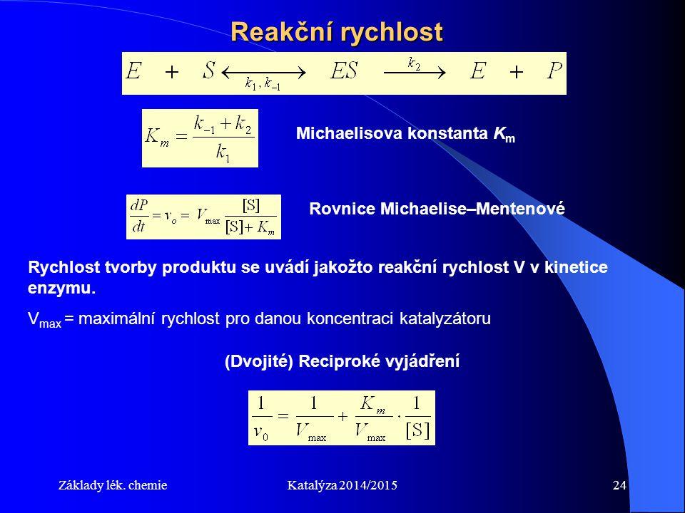Základy lék. chemieKatalýza 2014/201524 Reakční rychlost Michaelisova konstanta K m Rovnice Michaelise–Mentenové Rychlost tvorby produktu se uvádí jak