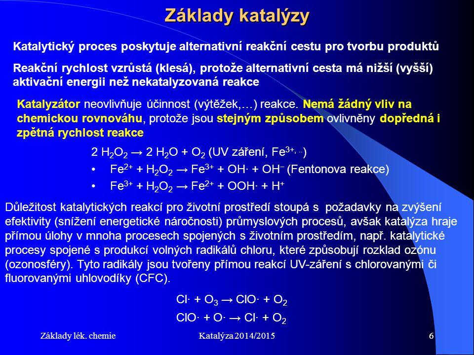 Základy lék. chemieKatalýza 2014/20156 Základy katalýzy Katalytický proces poskytuje alternativní reakční cestu pro tvorbu produktů Reakční rychlost v