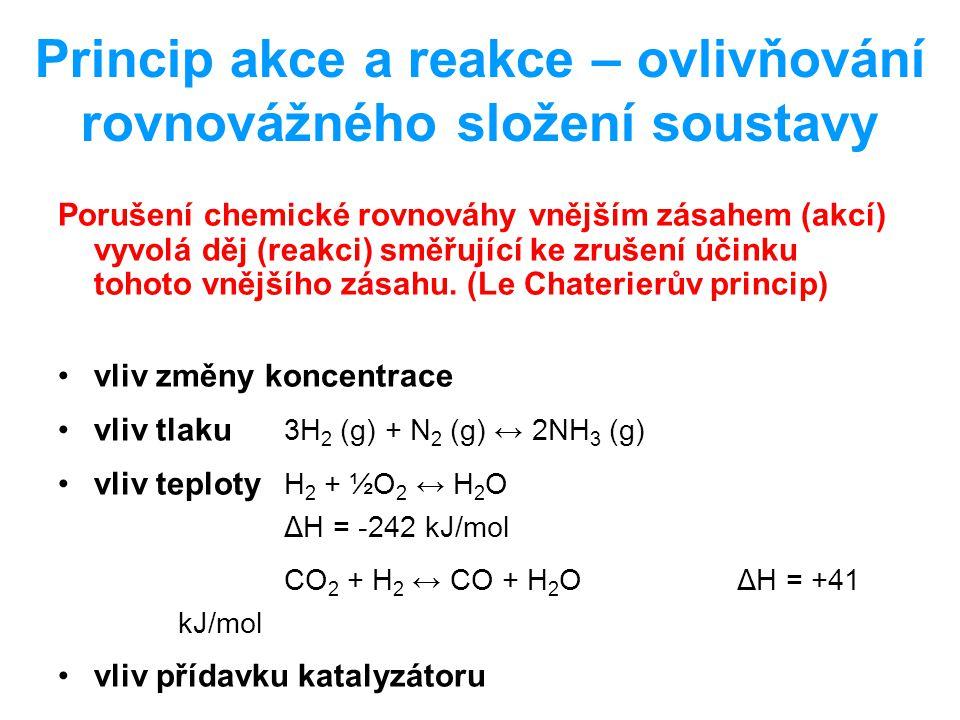Princip akce a reakce – ovlivňování rovnovážného složení soustavy Porušení chemické rovnováhy vnějším zásahem (akcí) vyvolá děj (reakci) směřující ke