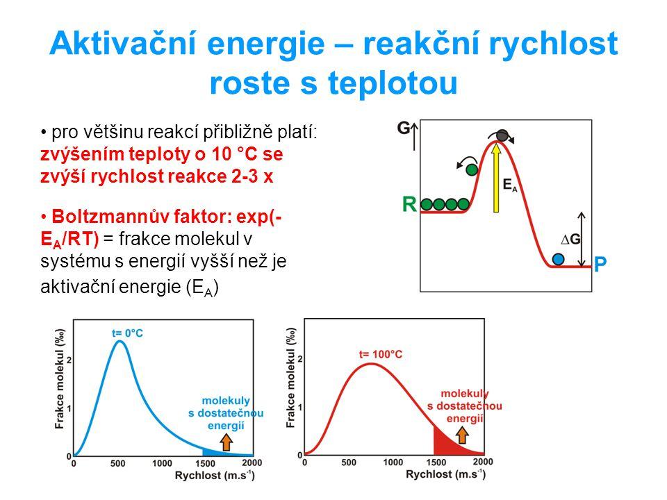 Aktivační energie – reakční rychlost roste s teplotou pro většinu reakcí přibližně platí: zvýšením teploty o 10 °C se zvýší rychlost reakce 2-3 x Bolt