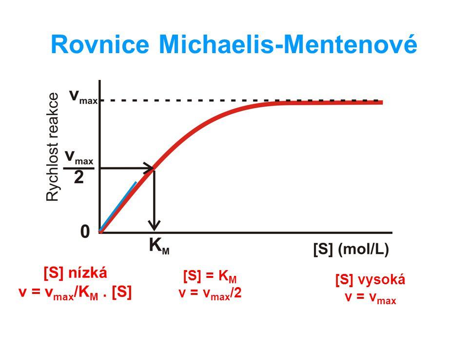 Rovnice Michaelis-Mentenové [S] nízká v = v max /K M. [S] [S] = K M v = v max /2 [S] vysoká v = v max