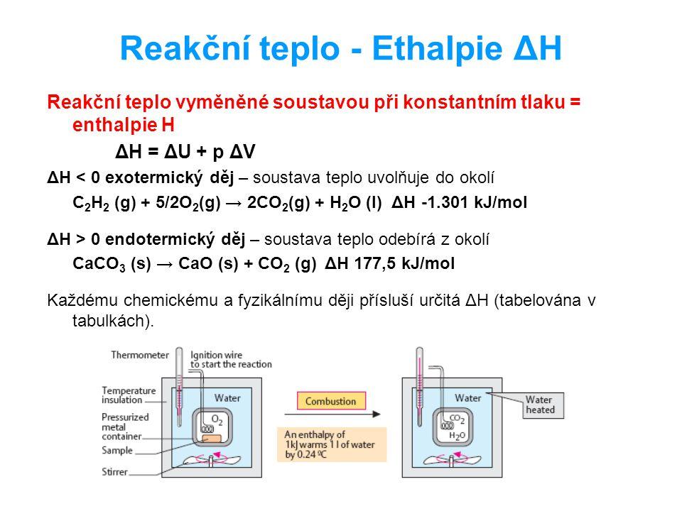 Reakční teplo - Ethalpie ΔH Reakční teplo vyměněné soustavou při konstantním tlaku = enthalpie H ΔH = ΔU + p ΔV ΔH < 0 exotermický děj – soustava tepl