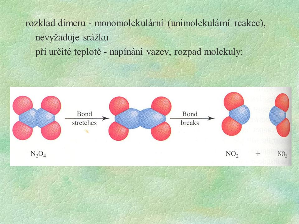 formální kinetika: zabývá se řešením kinetických rovnic, cíl: popsat časové změny koncentrací reagujících látek reakce 1.