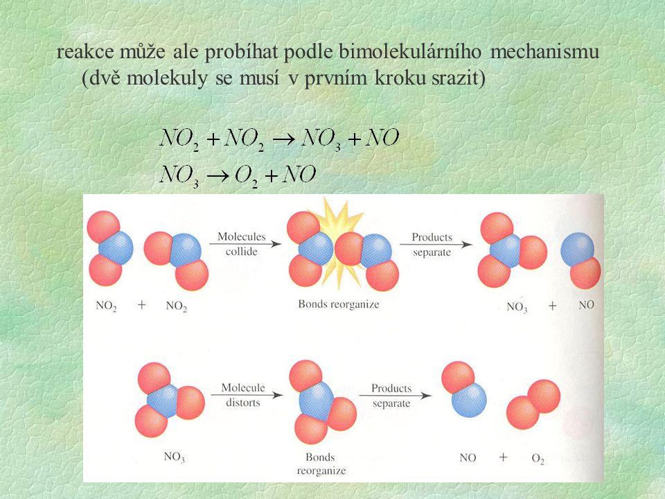 oba mechanismy vyhovují stechiometrii reakce jak rozhodnout, který je správný: snaha analyzovat meziprodukty (obtížné, meziprodukty velmi reaktivní, vyskytují se v nepatrných koncentracích) analyzovat kinetiku reakce z průběhu závisloti koncentrace výchozích látek na čase lze rozhodnout, zda 1 krok reakce je reakce unimolekulární nebo bimolekulární