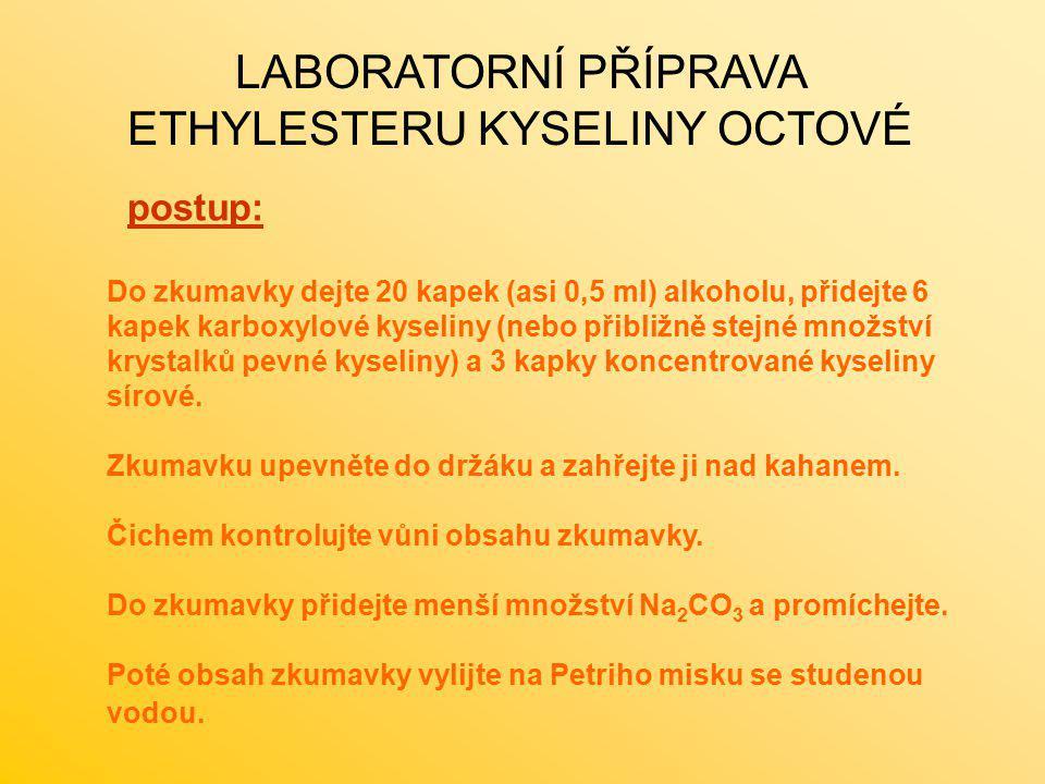 LABORATORNÍ PŘÍPRAVA ETHYLESTERU KYSELINY OCTOVÉ postup: Do zkumavky dejte 20 kapek (asi 0,5 ml) alkoholu, přidejte 6 kapek karboxylové kyseliny (nebo