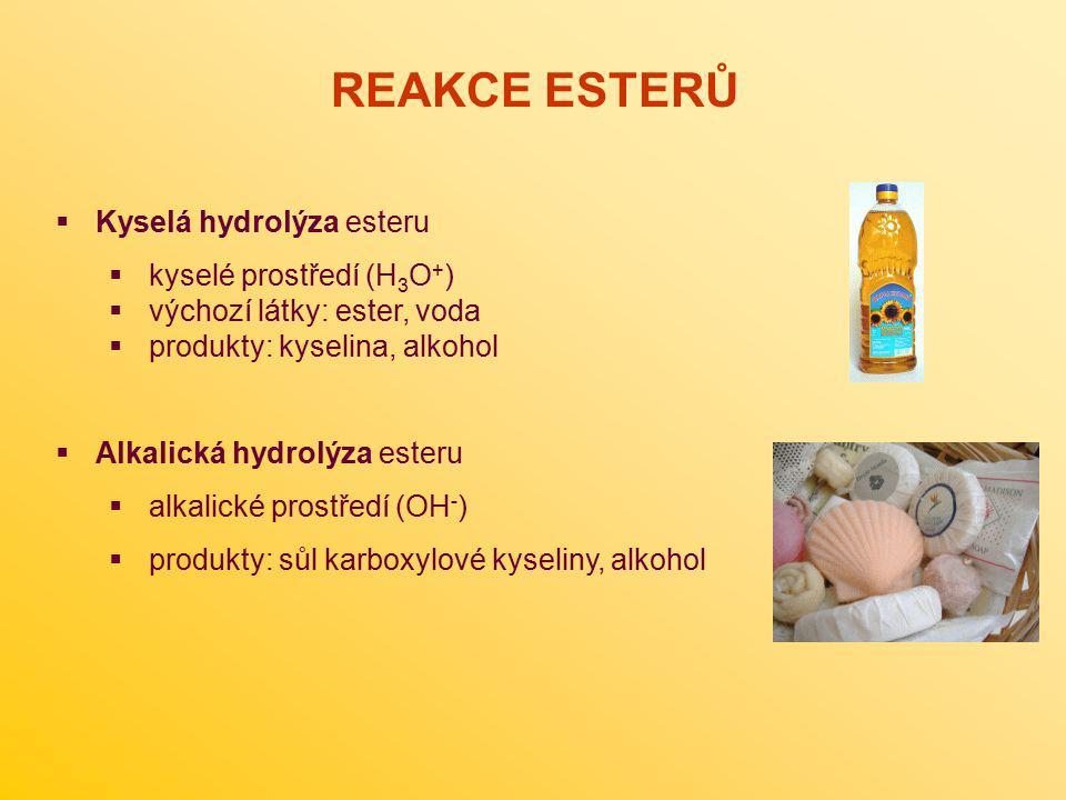  Kyselá hydrolýza esteru  kyselé prostředí (H 3 O + )  výchozí látky: ester, voda  produkty: kyselina, alkohol  Alkalická hydrolýza esteru  alka