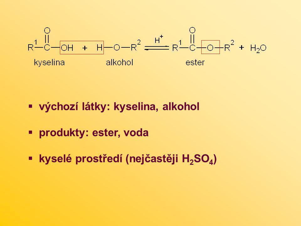  výchozí látky: kyselina, alkohol  produkty: ester, voda  kyselé prostředí (nejčastěji H 2 SO 4 )