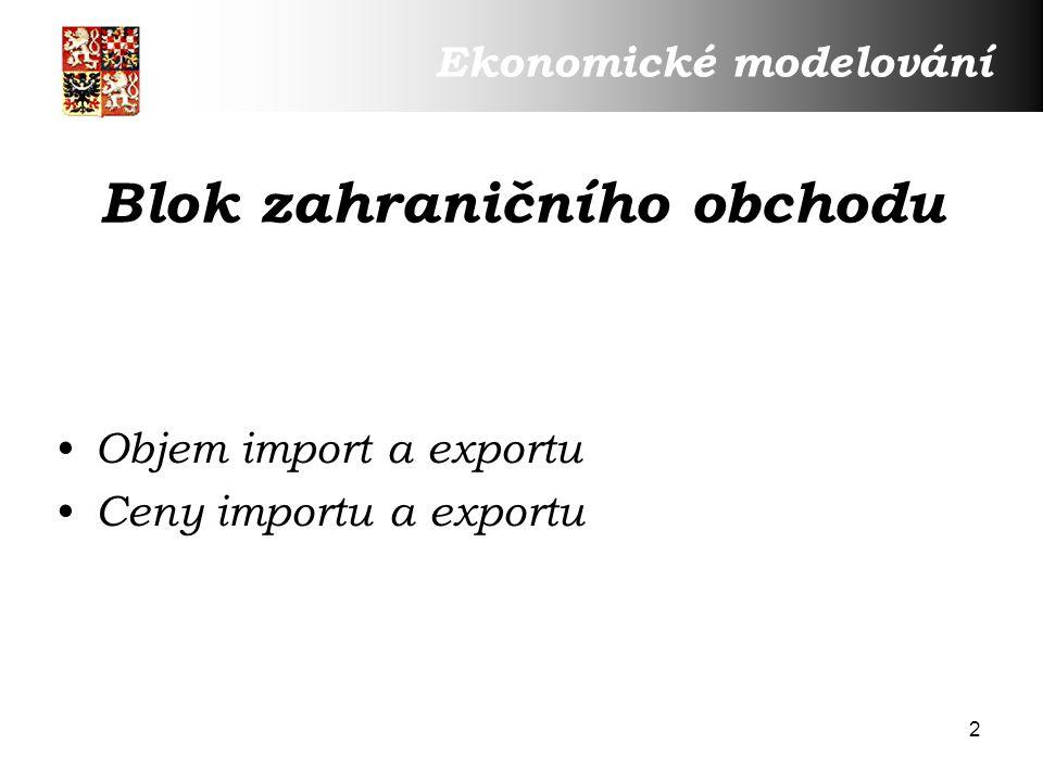 2 Blok zahraničního obchodu Objem import a exportu Ceny importu a exportu Ekonomické modelování