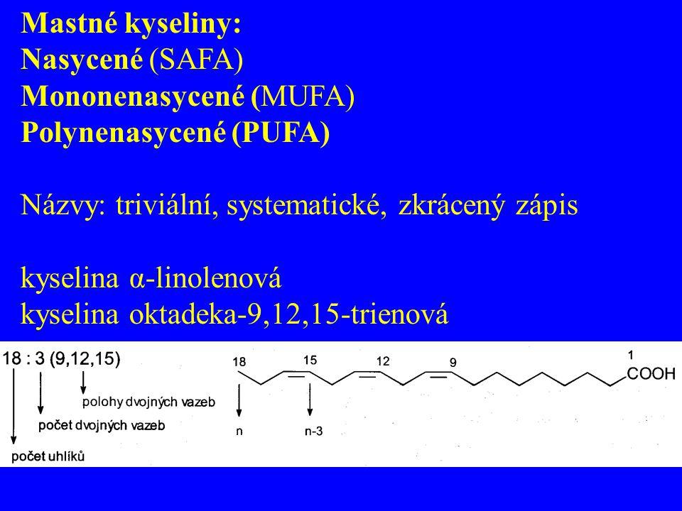 Mastné kyseliny: Nasycené (SAFA) Mononenasycené (MUFA) Polynenasycené (PUFA) Názvy: triviální, systematické, zkrácený zápis kyselina α-linolenová kyse