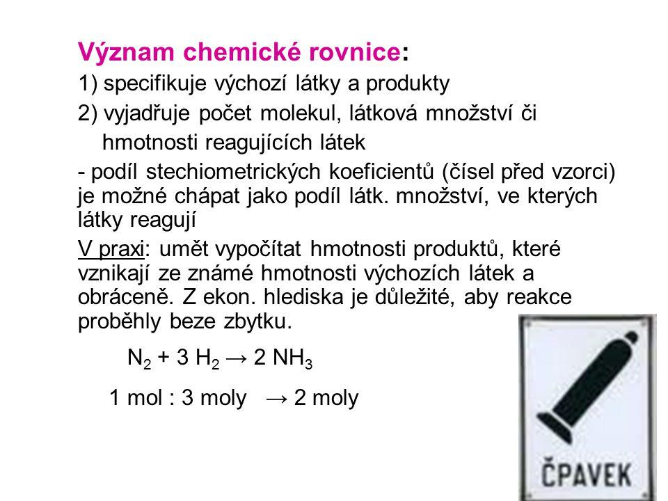 Význam chemické rovnice: 1) specifikuje výchozí látky a produkty 2) vyjadřuje počet molekul, látková množství či hmotnosti reagujících látek - podíl s