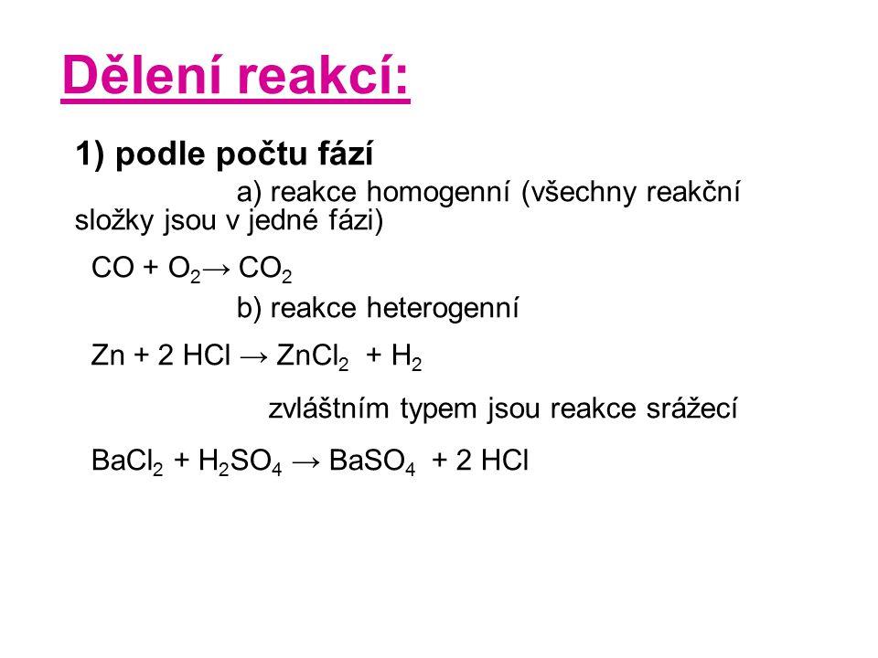 Dělení reakcí: 1) podle počtu fází a) reakce homogenní (všechny reakční složky jsou v jedné fázi) CO + O 2 → CO 2 b) reakce heterogenní Zn + 2 HCl → Z