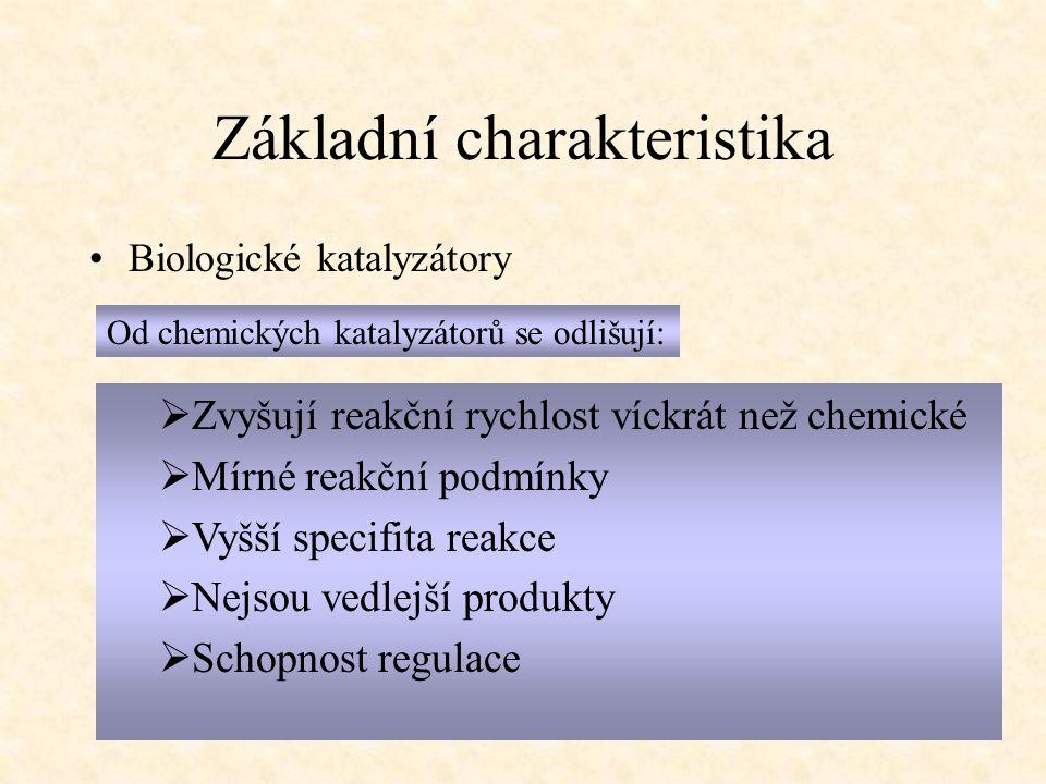 Základní charakteristika Biologické katalyzátory Od chemických katalyzátorů se odlišují:  Zvyšují reakční rychlost víckrát než chemické  Mírné reakč