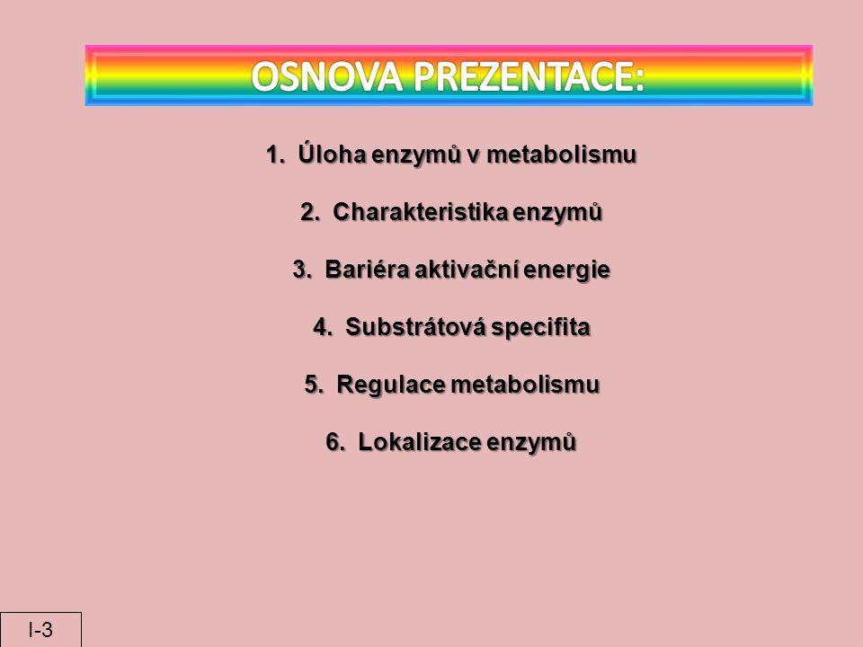 1.Úloha enzymů v metabolismu 2.Charakteristika enzymů 3.Bariéra aktivační energie 4.Substrátová specifita 5.Regulace metabolismu 6.Lokalizace enzymů I