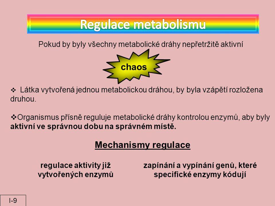 Látka vytvořená jednou metabolickou dráhou, by byla vzápětí rozložena druhou.  Organismus přísně reguluje metabolické dráhy kontrolou enzymů, aby b