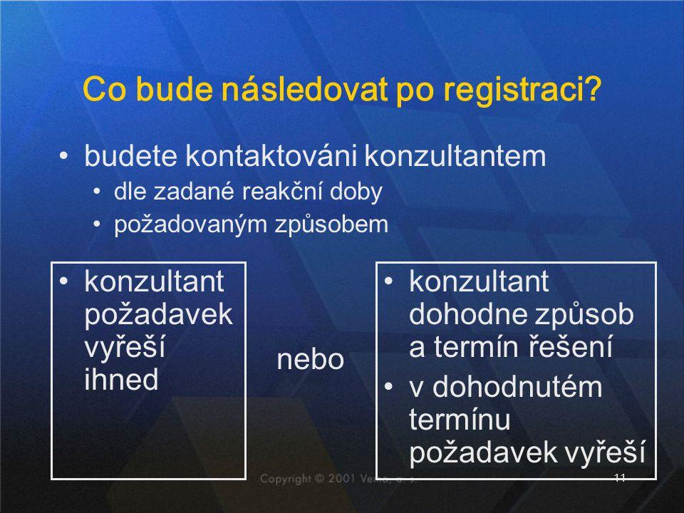 11 Co bude následovat po registraci? konzultant požadavek vyřeší ihned konzultant dohodne způsob a termín řešení v dohodnutém termínu požadavek vyřeší