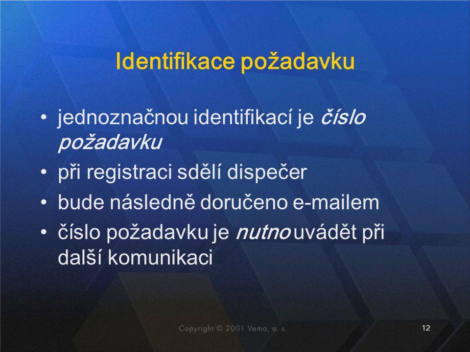 12 Identifikace požadavku jednoznačnou identifikací je číslo požadavku při registraci sdělí dispečer bude následně doručeno e-mailem číslo požadavku je nutno uvádět při další komunikaci